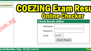 COEZING Exam Result Checker 1st/2nd Semester 2019/2020